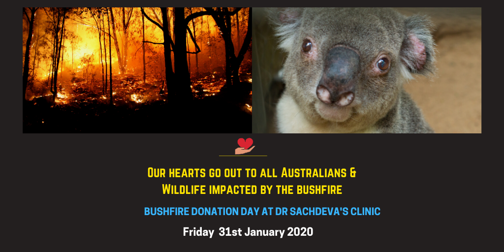 bushfire donation day at dr sheetal sachdeva banner